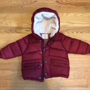 Zara Baby 12-18m red puff coat with hood.